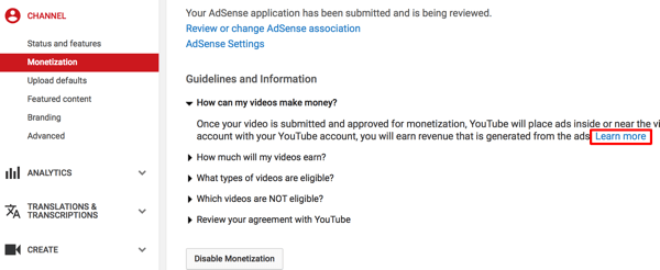 Connect youtube and adsense accounts