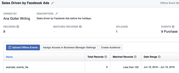 Even after offline events are established, you can continue to upload new data to Facebook so your analysis stays up to date.