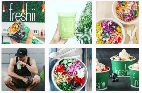 Freshii incorporates their logo into many of their Instagram photos.