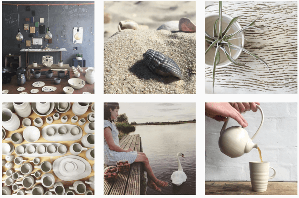 Illyria Pottery uses one filter to create a cohesive Instagram feed.