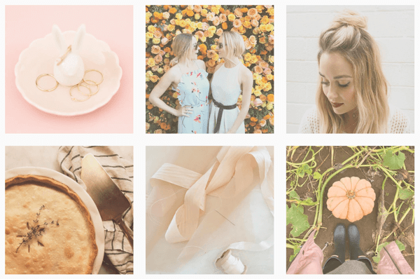 The Instagram feed of Lauren Conrad is unified by the use of the same filter on all images.