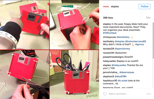 This Instagram photo collage by Staples shows a clever way to repurpose floppy disks into a desk accessory.