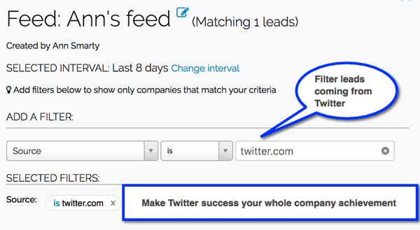 Create Leadfeeder filters to track leads coming from your social media channels.