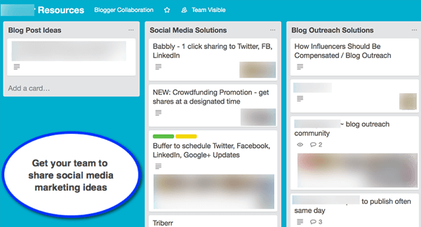 Set up a Trello board for employees to make suggestions for your social campaigns.