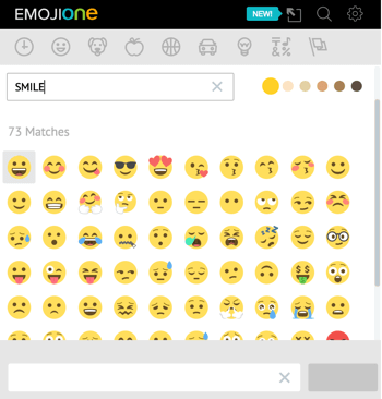 Click the unicorn icon to open EmojiOne's emoji library.