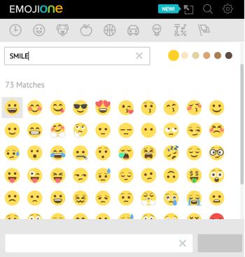 Click the unicorn icon to open EmojiOne's emoji library.