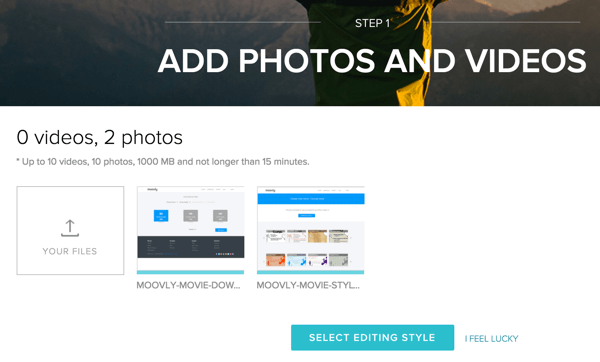 Add photos and videos to create a movie in Magisto.