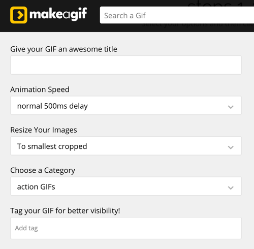 Add a name and choose speed and category options in MakeaGIF.
