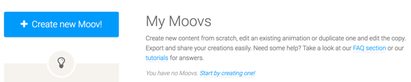 Click the Create New Moov button to get started with Moovly.