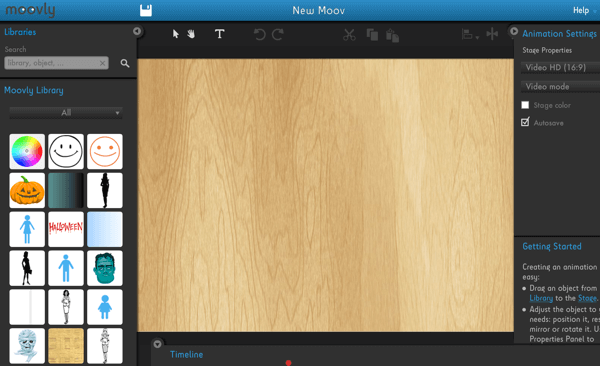 Add visual and audio elements in the Moovly editor window.