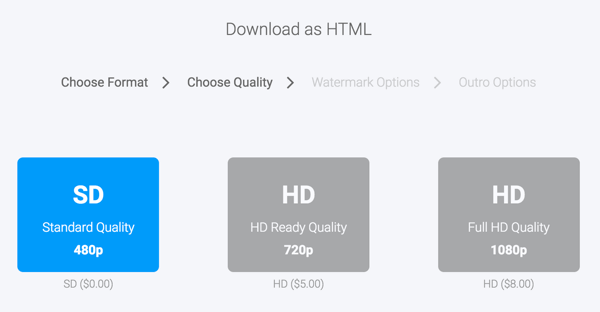 Select a download format for your Moovly video.