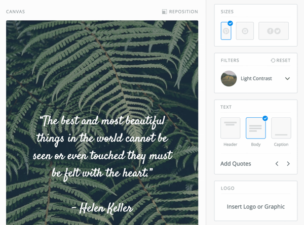 The Pablo Quotes tool will generate random quotes to use in your images.