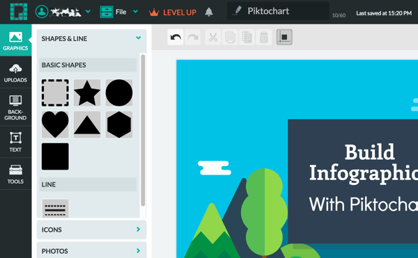 Tweak your infographic design in the Piktochart editing window.