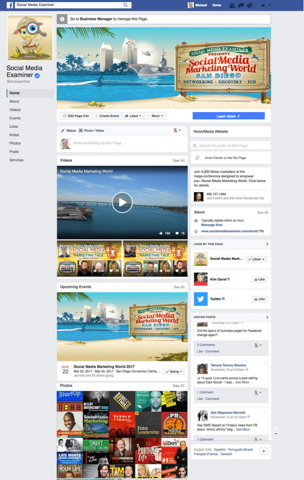 Social Media Examiner noted the rollout of a new Facebook Page layout for desktop users.