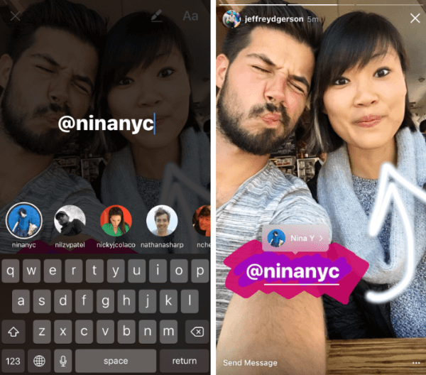 Instagram adds @ mentions to Instagram Stories posts.