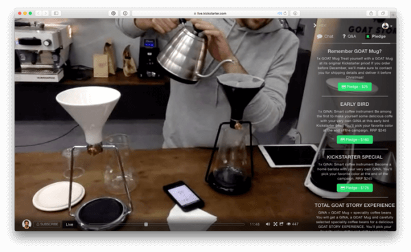 Huzza-powered Kickstarter Live offers a new way to share and experience the creative journey as it happens and brings live video and real-time community engagement onto Kickstarter for the first time.