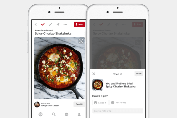 Pinterest added a new check mark feature that offers an easy way for you to keep track of all the ideas you've tried on Pinterest.