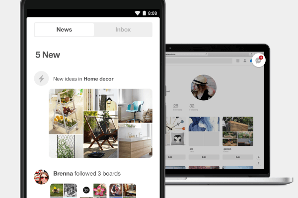 Pinterest simplified and streamlined its notification features and inbox.