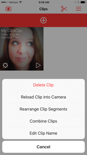 Edit clips in Cinamatic.