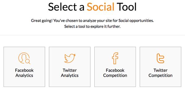 Select a social media tool in Modovo.