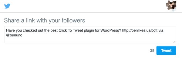 The Better Click to Tweet WordPress plugin displays pre-populated tweets for users to share on Twitter.