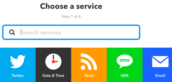 Select a service for your IFTTT applet.