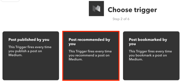 Choose a trigger for your IFTTT applet.