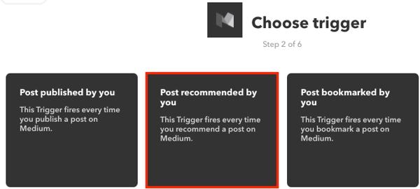 Choose a trigger for your IFTTT applet.