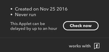 After you finish creating your IFTTT applet, click Check Now to force it to fire.