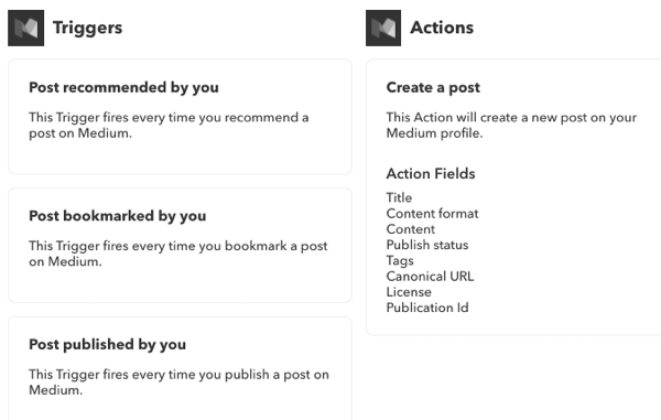 Check out the IFTTT All Services page to see what triggers and actions you can use for specific services.