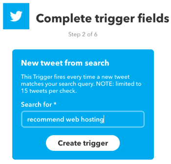 Create an IFTTT applet that's triggered by a Twitter search.
