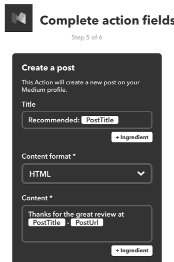 You can also create an IFTTT applet to recommend a post from Medium on your own Medium account.