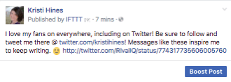 This is what a liked tweet looks like when shared to your Facebook page via IFTTT.