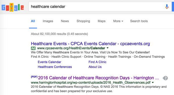 Search for industry events you can incorporate into your content calendar.