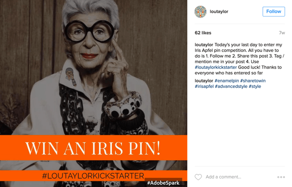 For an Instagram hashtag contest, ask users to post a photo along with your campaign hashtag.