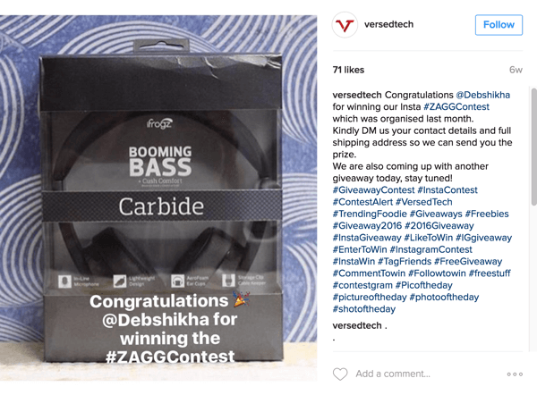 Be sure to announce the winner of your Instagram selfie contest.