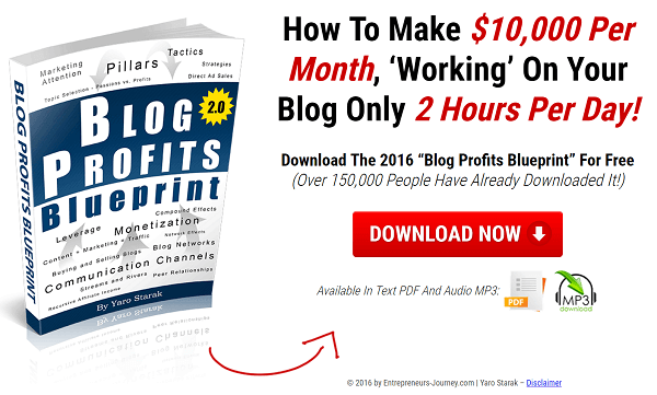 The Blog Profit Blueprint is a free report where readers can opt into Yaro's emails.
