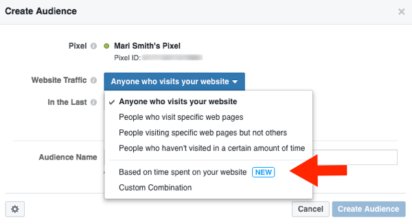 Create a custom Facebook audience based on website visit data.