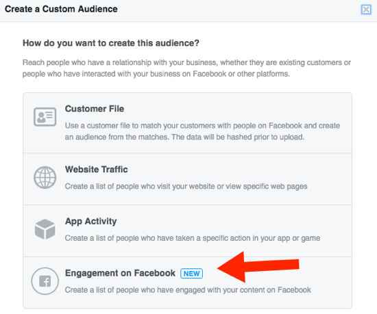 Set a custom Facebook audience based on engagement.