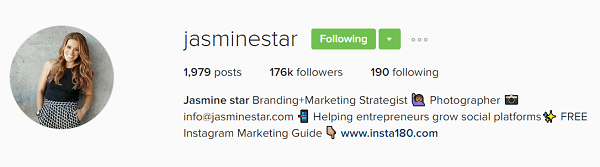 Jasmine Star's Instagram profile bio showcases her value.