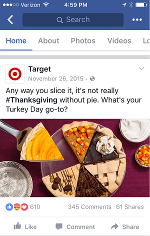 This Thanksgiving post by Target shows well on both desktop and mobile feeds.