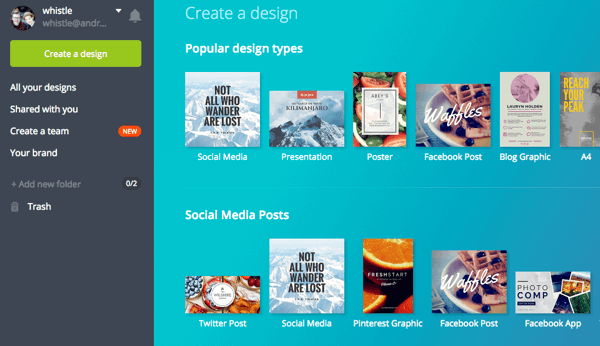 Select a design type in Canva.