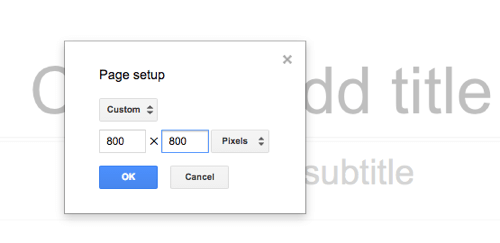 Choose the size of your Google Slides graphic.