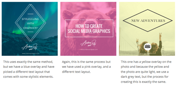 Create different variations of social media images.