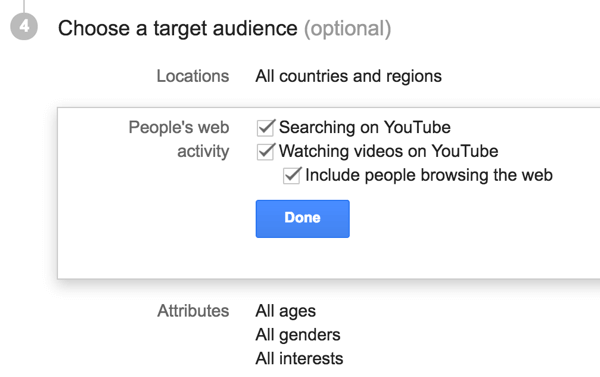 Choose the target audience for your YouTube ad.