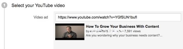 Fügen Sie den Link zu Ihrem Video für Ihre YouTube-Werbekampagne hinzu.