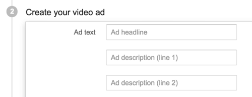 Add the copy for your YouTube ad.