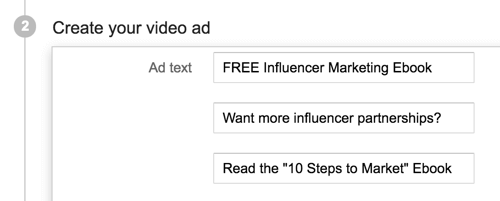 Pick a compelling headline and description for your YouTube ad.