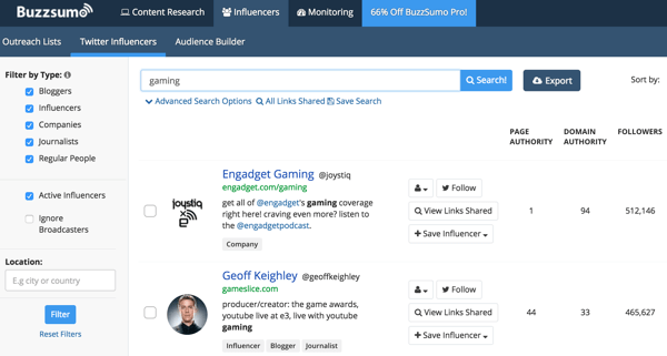 BuzzSumo displays a list of influencers with their stats.