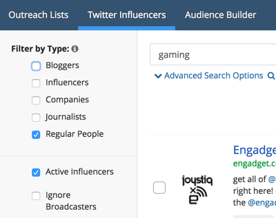 BuzzSumo offers several types of filters to sort your search results.